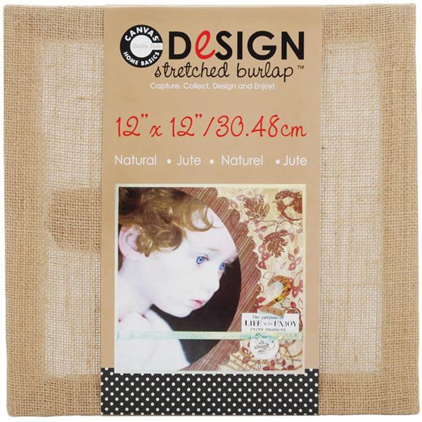 Stretched Natural Burlap (12 x 12)