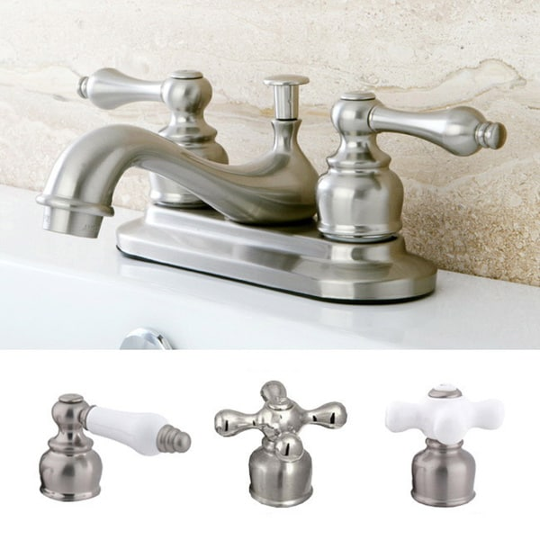 Shop Satin Nickel Classic Two Handle Bathroom Faucet Free Shipping Today 5754701