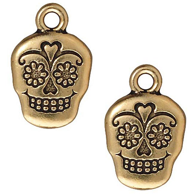 Beadaholique Goldplated Pewter Dia De Muertos Suger Skull Charms (Set of 2)