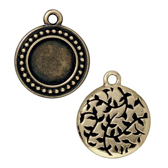 Beadaholique Brassplated Pewter Beaded Round Frame Charms (Set of 2)