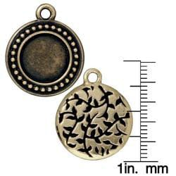 Beadaholique Brassplated Pewter Beaded Round Frame Charms (Set of 2) - Thumbnail 2