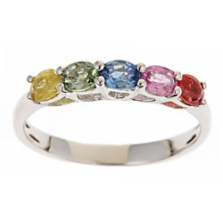 Anika and August 14k White Gold Multi-colored Sapphire Fashion Ring