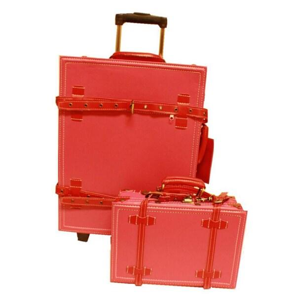 addaf679e5cf La Vida Vintage 2-piece Pink / Red Carry-On Luggage Set