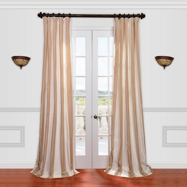 Exclusive Fabrics Light Brown/ Tan Striped Faux Silk Taffeta Curtain Panel