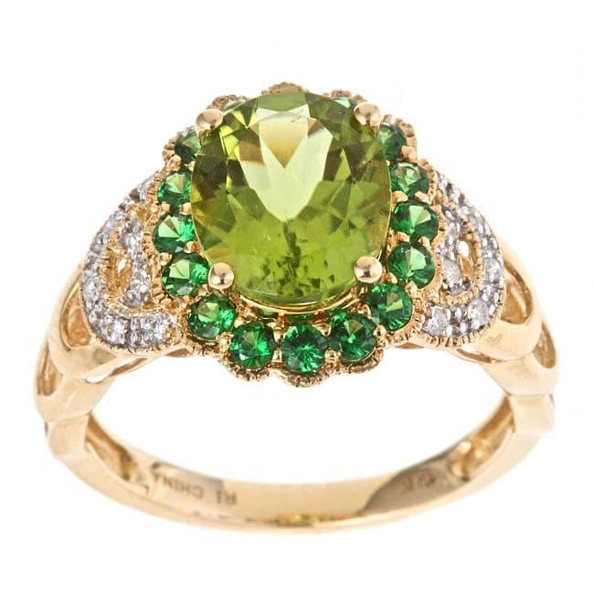 D'Yach 14k Yellow Gold Peridot, Tsavorite and 1/10ct TDW Diamond Ring (G-H, I1-I2)