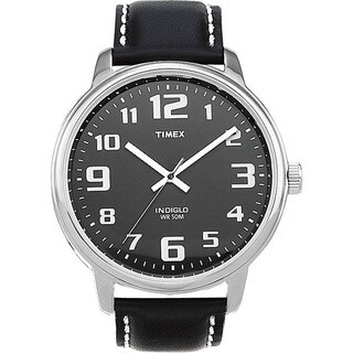 Timex Men's T28071 Easy Reader Black Leather Strap Watch