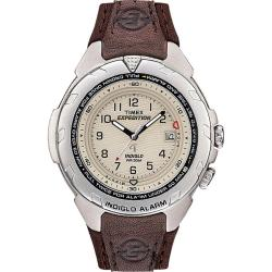 Timex T479029J Men's Expedition Easy Set Alarm Brown Leather and Nylon Strap Watch