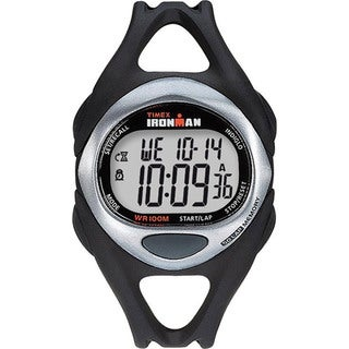 Timex Men's T54281 Ironman Sleek 50-Lap Black/Silvertone/Orange Watch