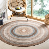 Safavieh Hand-woven Country Living Reversible Brown Braided Rug - 6' x 6' Round