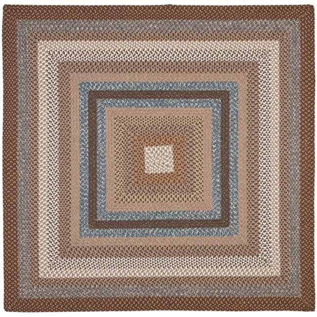 Safavieh Hand-woven Reversible Brown Braided Rug (8' Square)