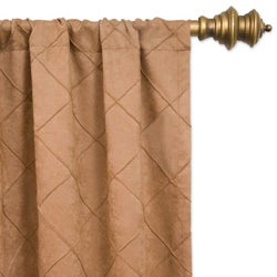 Lambrequin Niles Faux Suede Pin-tuck 84-inch Window Panel - Thumbnail 1