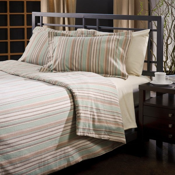 Luxury German Green Stripe Flannel 3-piece Duvet Cover Set