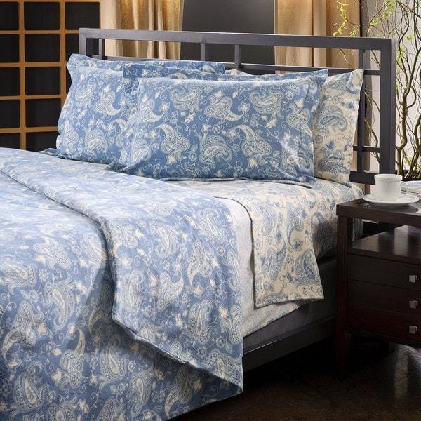 Shop Luxury German Blue Paisley Print Flannel Sheet Set