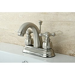 Satin Nickel Classic Double-handle Bathroom Faucet - Thumbnail 1