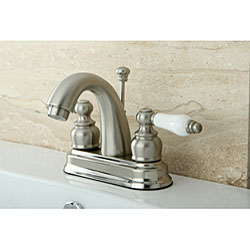 Satin Nickel Classic Double-handle Bathroom Faucet - Thumbnail 2