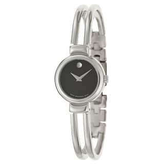 Movado Women's 606056 Harmony Stainless Steel Black Dial Watch|https://ak1.ostkcdn.com/images/products/5757321/P13486588.jpg?impolicy=medium