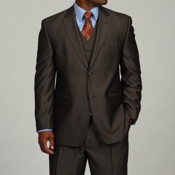 Sean John Men's Brown 3-piece Vested Suit