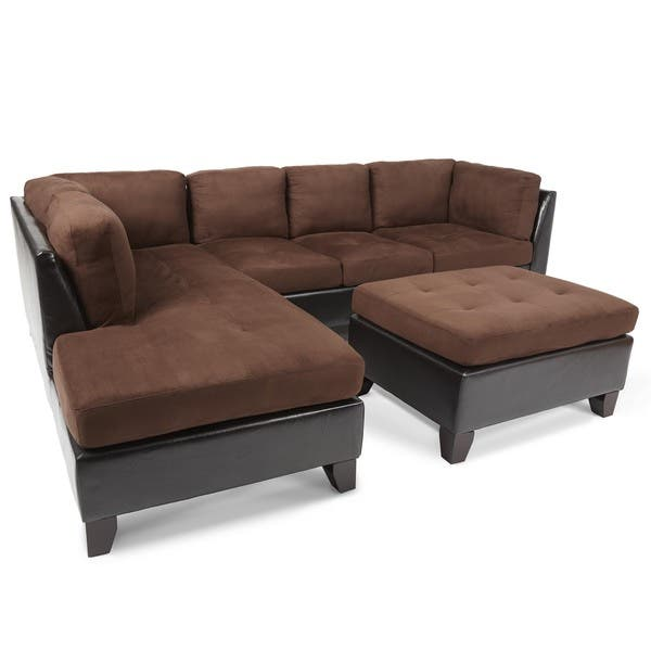 Surprising Shop Abbyson Charlotte Dark Brown Sectional Sofa And Ottoman Ibusinesslaw Wood Chair Design Ideas Ibusinesslaworg
