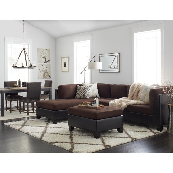 Abbyson charlotte dark brown sectional sofa and ottoman for Charlotte sectional sofa and ottoman