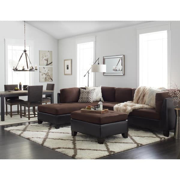 Incredible Shop Abbyson Charlotte Dark Brown Sectional Sofa And Ottoman Onthecornerstone Fun Painted Chair Ideas Images Onthecornerstoneorg