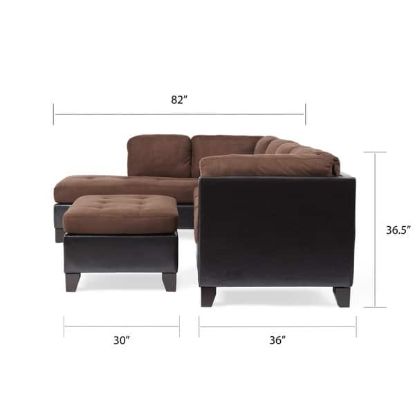Incredible Shop Abbyson Charlotte Dark Brown Sectional Sofa And Ottoman Ibusinesslaw Wood Chair Design Ideas Ibusinesslaworg