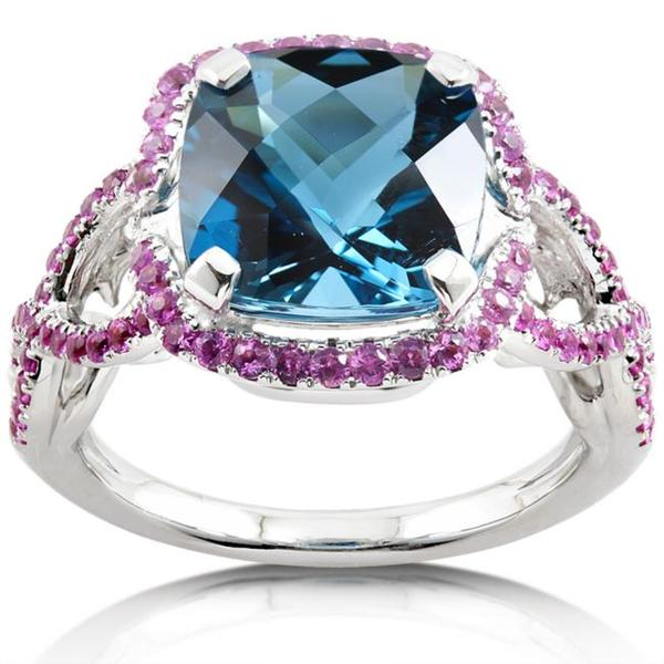 Annello by Kobelli 18k White Gold London Blue Topaz and Pink Sapphire Ring