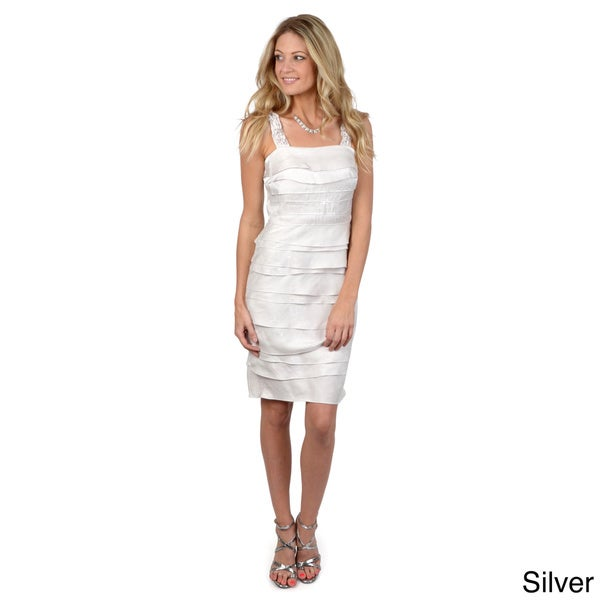 Sangria Women's Shimmering Tiered Cocktail Dress