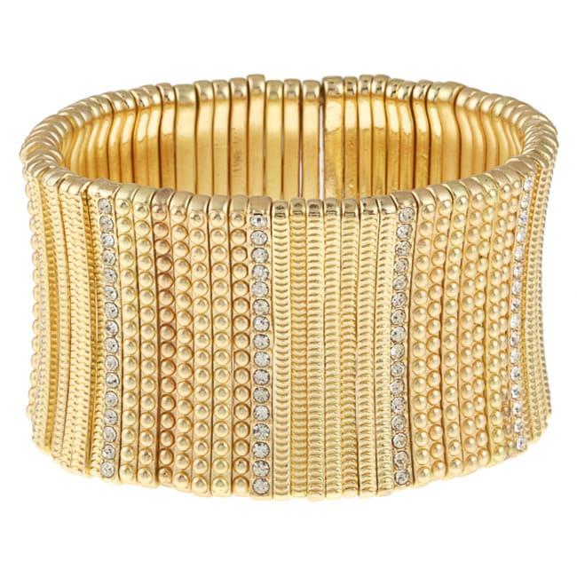 Celeste Goldtone Crystal Stretch Cuff Bracelet