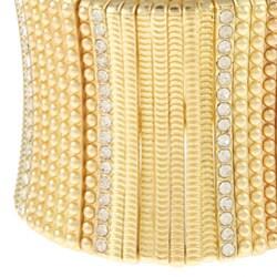 Celeste Goldtone Crystal Stretch Cuff Bracelet - Thumbnail 1