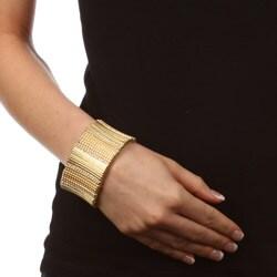 Celeste Goldtone Crystal Stretch Cuff Bracelet - Thumbnail 2