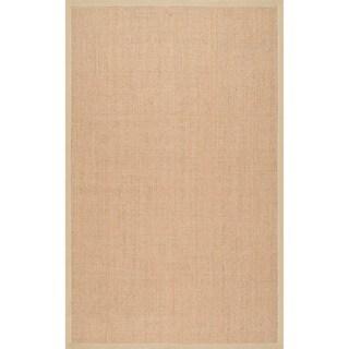 nuLOOM Handmade Alexa Eco Natural Fiber Cotton Border Sisal Rug (4' x 6')