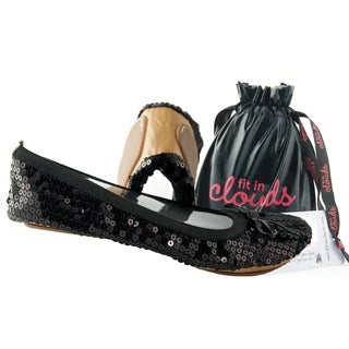 Fit In Clouds Women's 'Black Sequin' Foldable/ Portable Flats
