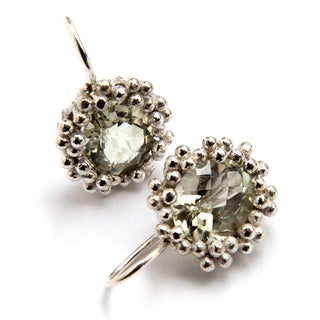 Sterling Silver Green Amethyst Earrings (India)