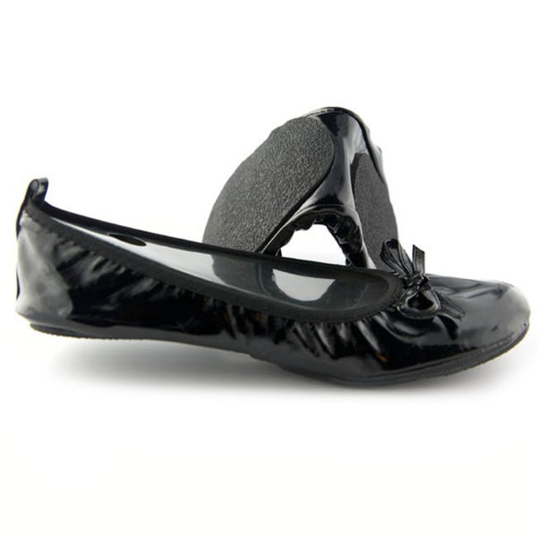 Fit In Clouds Women's Black Patent Leather Foldable/ Portable Flats