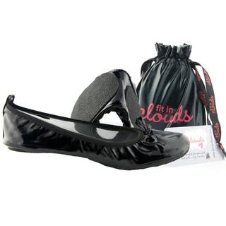 Fit In Clouds Women's Black Patent Leather Foldable/ Portable Flats|https://ak1.ostkcdn.com/images/products/5761862/P13490351.jpg?impolicy=medium