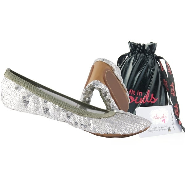 7ac053442fb Shop Fit In Clouds Silver Sequin Fold-able Flats - Free Shipping On ...