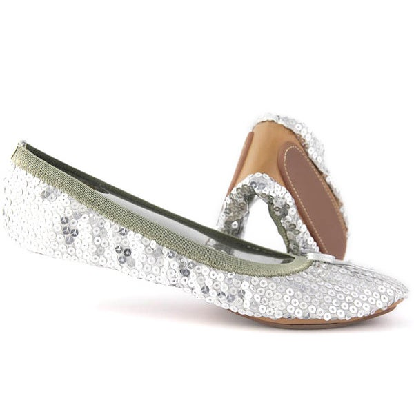 Fit In Clouds Silver Sequin Fold-able Flats - Free ...