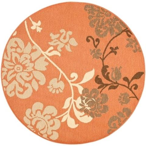"Safavieh Courtyard Floral Terracotta/ Natural Indoor/ Outdoor Rug - 5'3"" x 5'3"" Round"