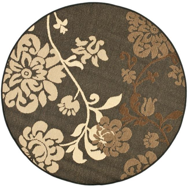 Safavieh Indoor/ Outdoor Black/ Brown Rug (53 Round)   13490613