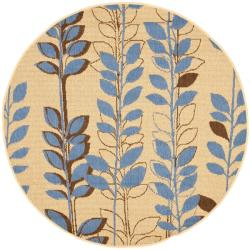 Safavieh Courtyard Foliage Natural/ Blue Indoor/ Outdoor Rug (6'7 Round)