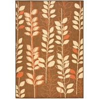 "Safavieh Courtyard Foliage Brown/ Terracotta Indoor/ Outdoor Rug - 6'7"" x 9'6"""