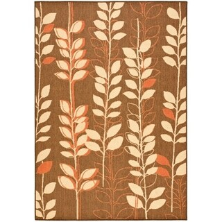 "Safavieh Courtyard Foliage Brown/ Terracotta Indoor/ Outdoor Rug - 6'-7"" x 9'-6"""