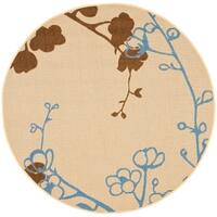 "Safavieh Courtyard Floral Branches Natural/ Blue Indoor/ Outdoor Rug - 6'7"" x 6'7"" round"