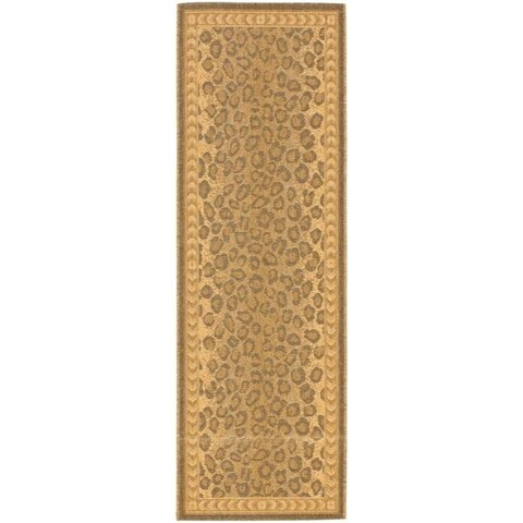 "Safavieh Courtyard Natural/ Gold Leopard Print Indoor/ Outdoor Runner - 2'3"" x 10' Runner"