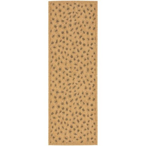 "Safavieh Courtyard Natural/ Leopard Print Indoor/ Outdoor Runner (2'4 x 9'11) - 2'3"" x 10' Runner"