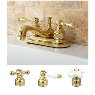 Restoration Polished Brass 4 Inch Center Bathroom Faucet (Option: Gold)