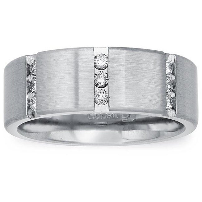 Cobalt Men's 1/4ct TDW Diamond Comfort Fit Band By Ever One (H-I, I2)