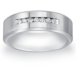 Cobalt Men's 1/5ct TDW Diamond Comfort Fit Band By Ever One (H-I, I2) - Thumbnail 0