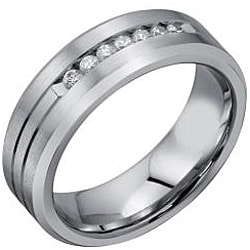 Cobalt Men's 1/5ct TDW Diamond Comfort Fit Band  By Ever One (H-I, I2) - Thumbnail 1