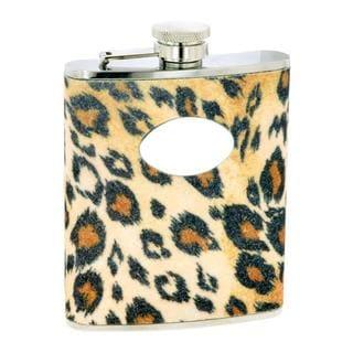 Glitter 6-oz Leopard Flask